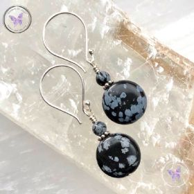Snowflake Obsidian Coin Earrings
